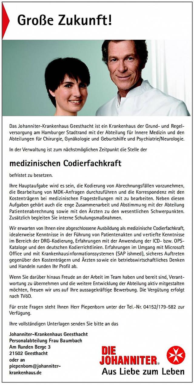 Johanniter-Krankenhaus Geesthacht: Medizinische Codierfachkraft (m/w)