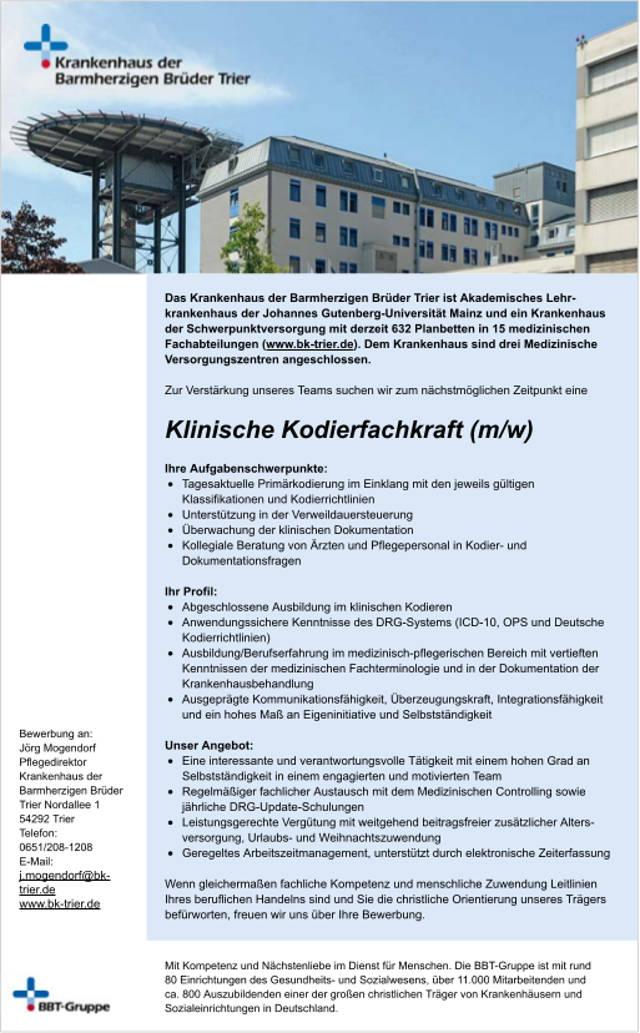 Krankenhaus der Barmherzigen Brüder Trier: Klinische Kodierfachkraft (m/w)