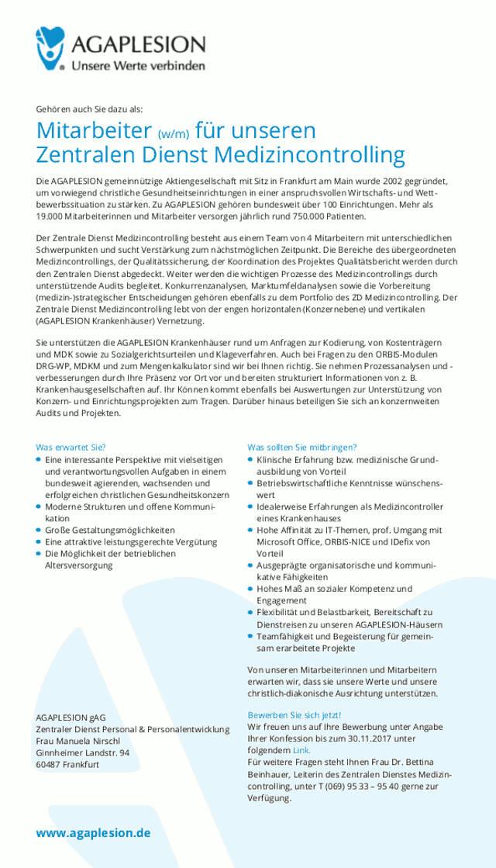 AGAPLESION gAG, Frankfurt: Mitarbeiter Medizincontrolling (m/w)