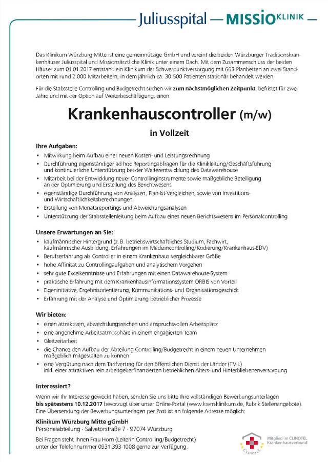 Klinikum Würzburg Mitte: Krankenhauscontroller (m/w)