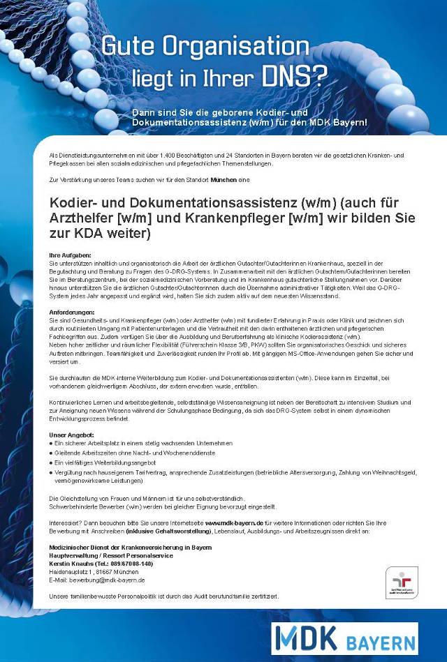 Medizinischer Dienst der Krankenversicherung in Bayern, München: Kodier- und Dokumentationsassistenz (w/m)