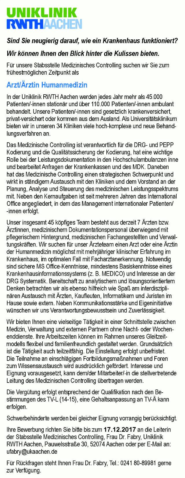 Uniklinik RWTH Aachen: Arzt Humanmedizin (m/w)