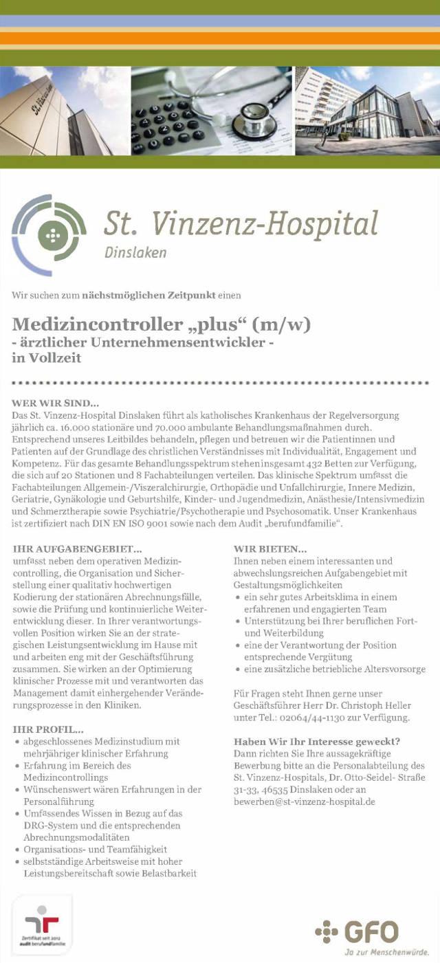 Vinzenz-Hospital Dinslaken: Medizincontroller (m/w)