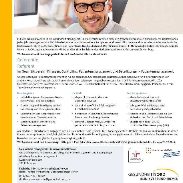 Gesundheit Nord gGmbH Klinikverbund Bremen: Referent (m/w)