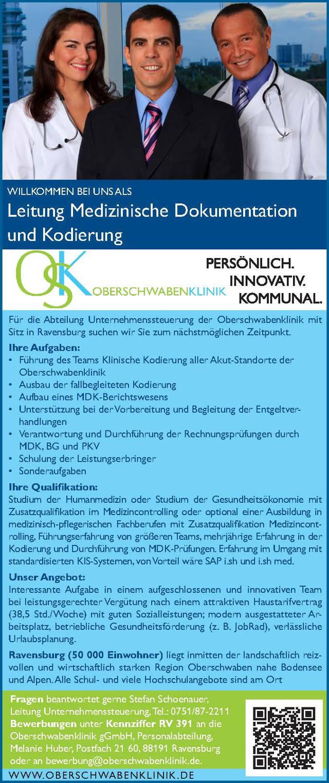 Oberschwabenklinik gGmbH, Ravensburg: Leitung Medizinische Dokumentation und Kodierung (m/w)