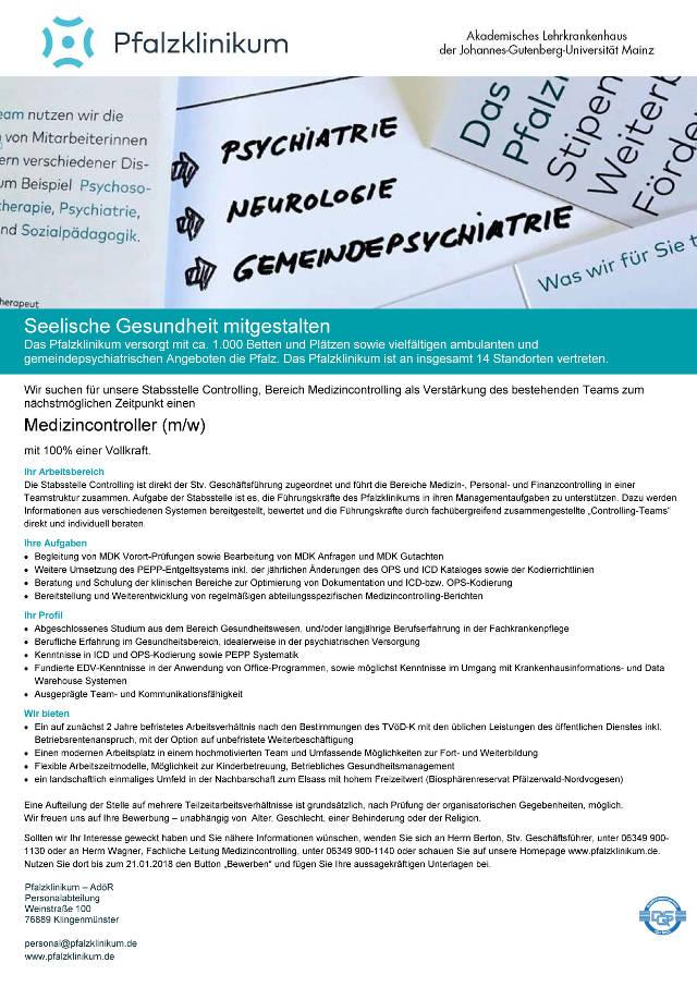 Pfalzklinikum für Psychiatrie und Neurologie (AöR), Klingenmünster: Medizincontroller (m/w)