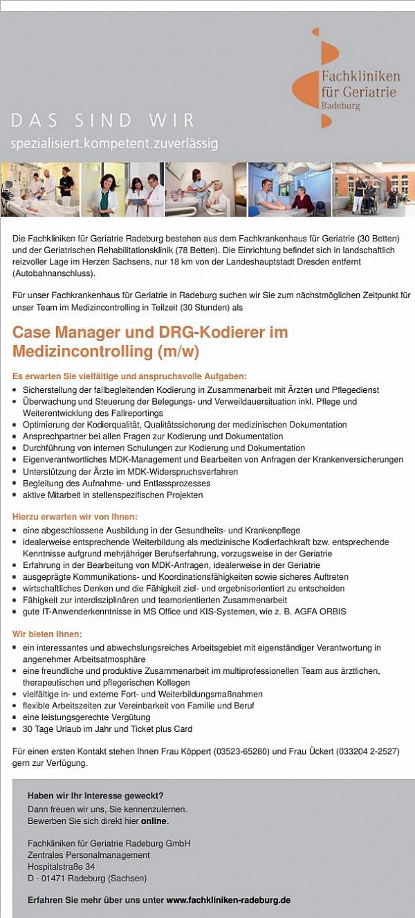 Fachkliniken für Geriatrie Radeburg GmbH: Case Manager und DRG-Kodierer (m/w)