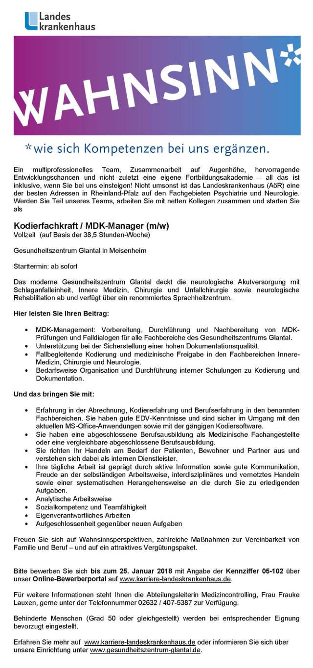 Das Gesundheitszentrum Glantal, Meisenheim: Kodierfachkraft / MDK-Manager (m/w)