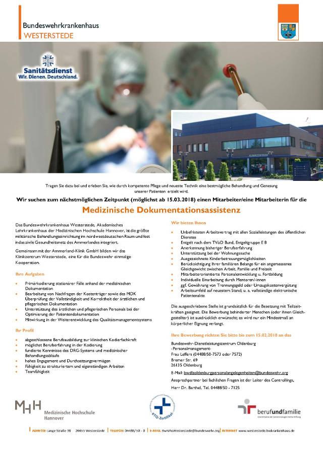 Bundeswehrkrankenhaus Westerstede: Mitarbeiter Medizinische Dokumentationsassistenz (m/w)
