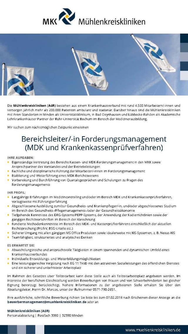 Mühlenkreiskliniken (AöR), Minden: Bereichsleitung Forderungsmanagement (m/w)