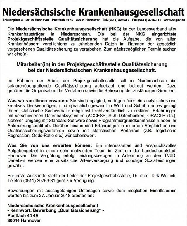 Niedersächsische Krankenhausgesellschaft, Hannover: Mitarbeiter Projektgeschäftsstelle Qualitätssicherung (m/w)