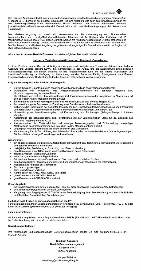 Klinikum Augsburg: Leitung - Zentrales Investitionscontrolling und -finanzierung (m/w)