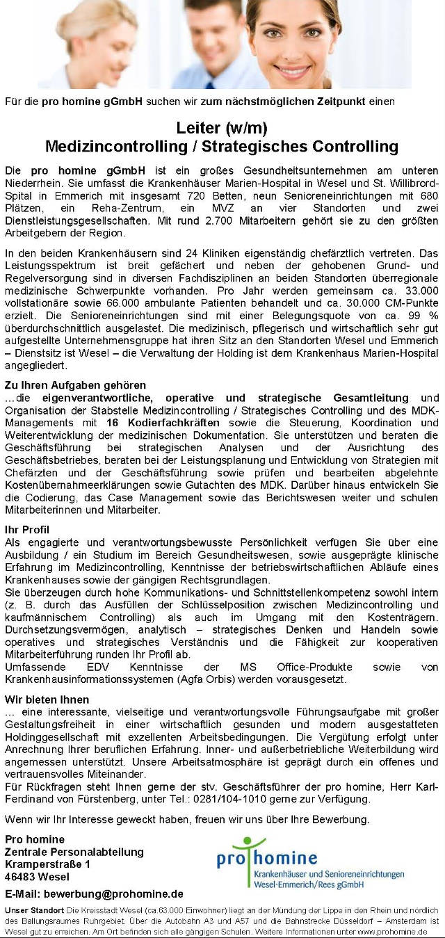 pro homine gGmbH, Wesel: Leitung Medizincontrolling / Strategisches Controlling (w/m)