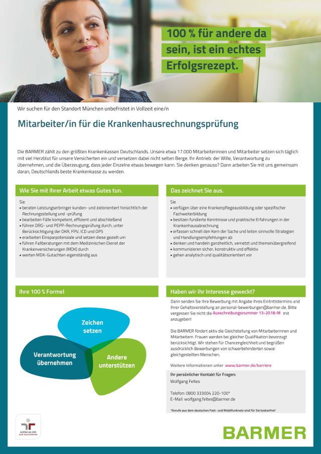 BARMER, München: Mitarbeiter Krankenhausrechnungsprüfung (w/m)