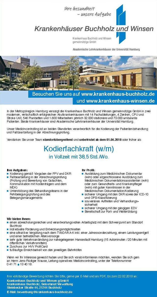 Krankenhaus Buchholz und Winsen gGmbH: Kodierfachkraft (w/m)