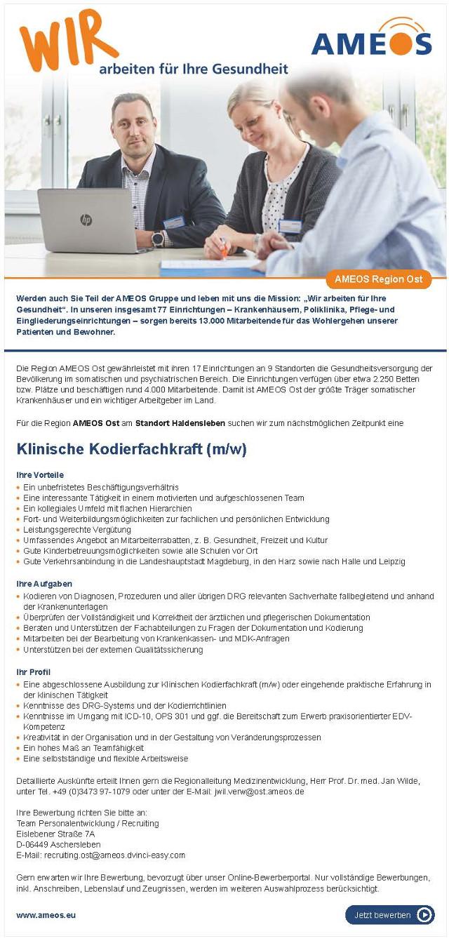AMEOS Region Ost, Haldensleben: Klinische Kodierfachkraft (m/w)