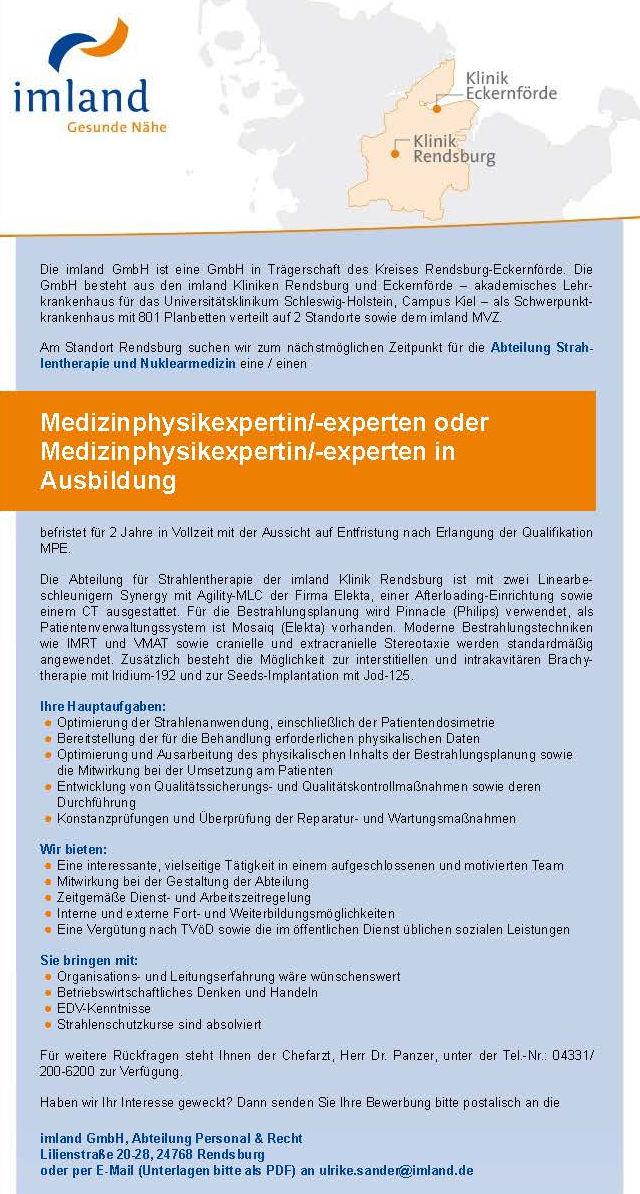 imland GmbH, Rendsburg: Medizinphysikexperte (m/w)