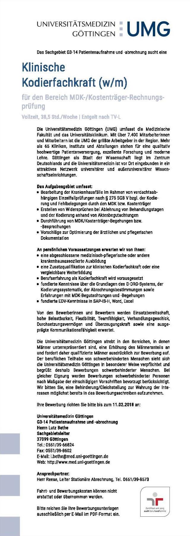 Universitätsmedizin Göttingen: Klinische Kodierfachkraft (w/m)