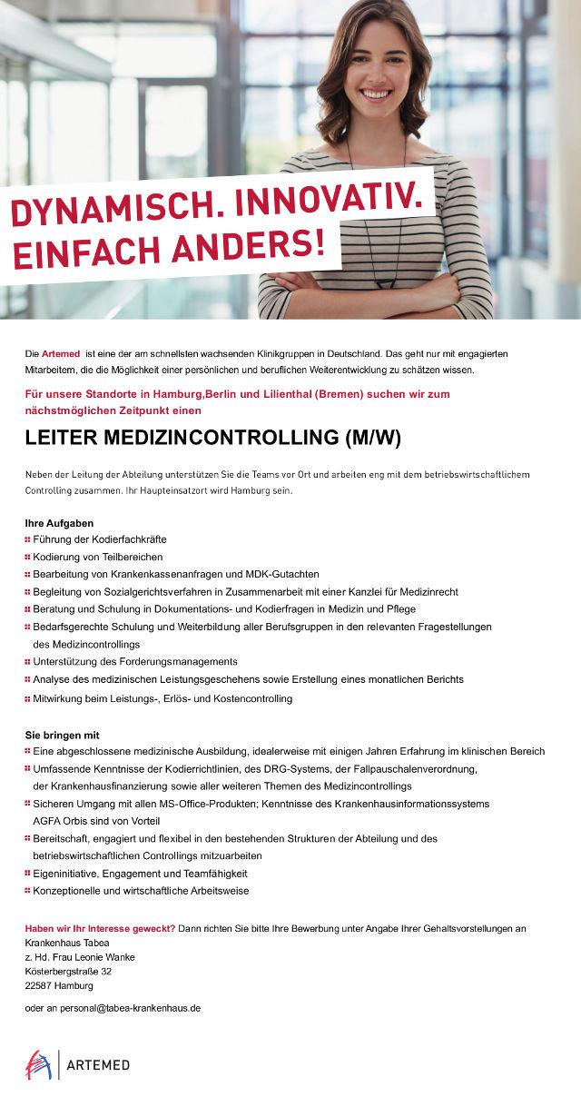 Artemed Klinikgruppe, Hamburg: Leitung Medizincontrolling (m/w)