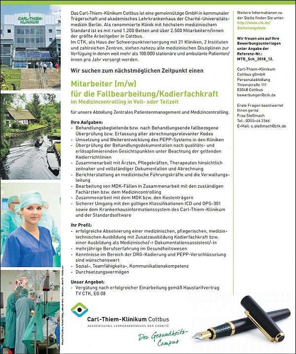 Carl-Thiem-Klinikum Cottbus gGmbH: Mitarbeiter Fallbearbeitung / Kodierfachkraft (m/w)