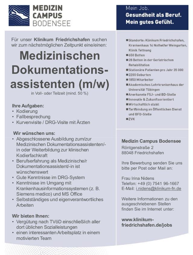 Medizin Campus Bodensee, Friedrichshafen: Medizinischer Dokumentationsassistent (m/w)