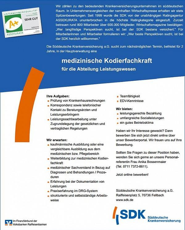Süddeutsche Krankenversicherung a.G., Fellbach: Medizinische Kodierfachkraft (m/w)