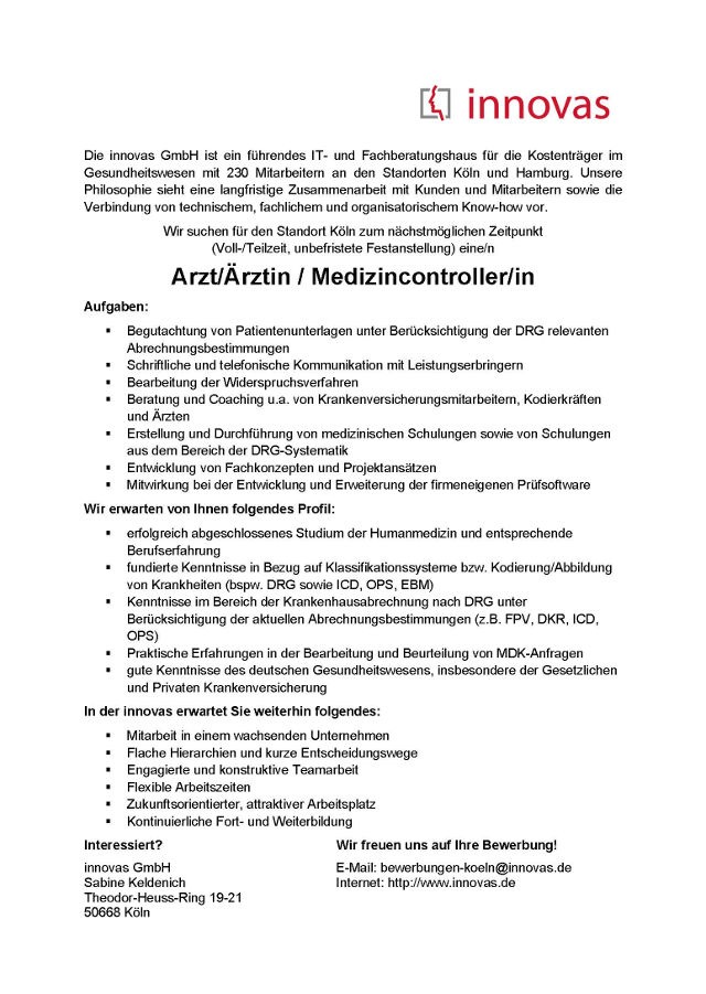 innovas GmbH, Köln: Arzt Medizincontroller (m/w)