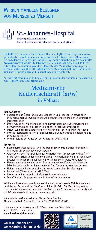 St.-Johannes-Hospital Dortmund: Medizinische Kodierfachkraft (m/w)