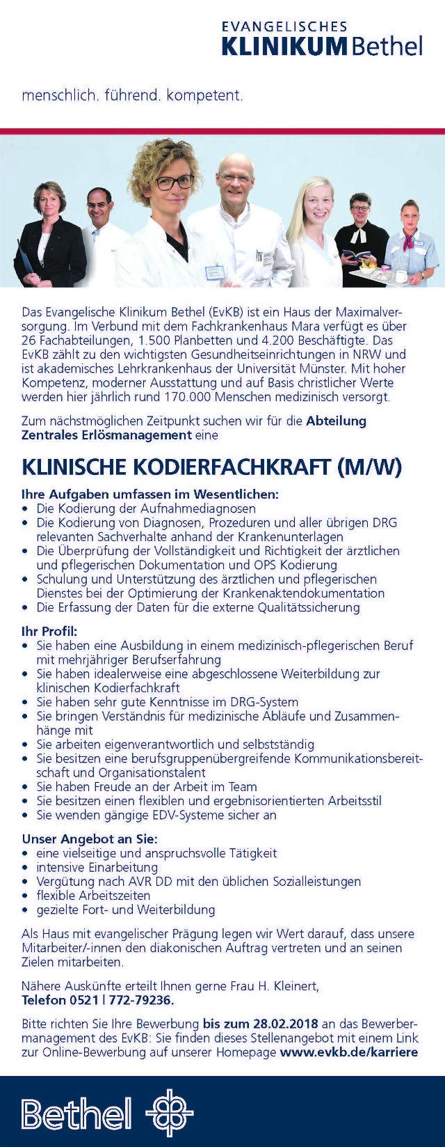 Evangelisches Klinikum Bethel, Bielefeld: Klinische Kodierfachkraft (m/w)