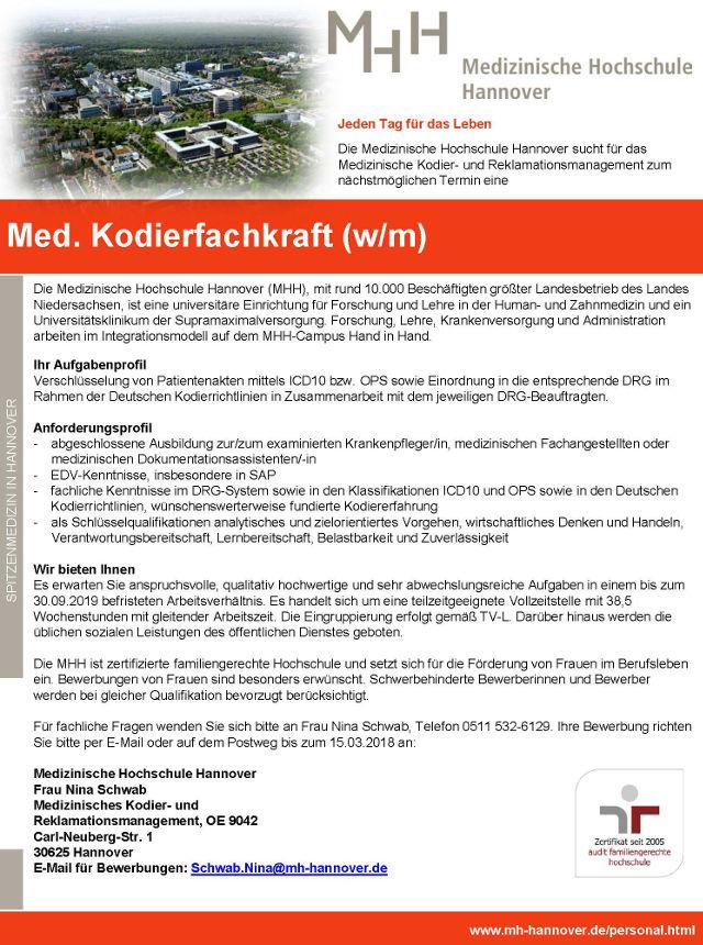 Medizinische Hochschule Hannover: Med. Kodierfachkraft (w/m)