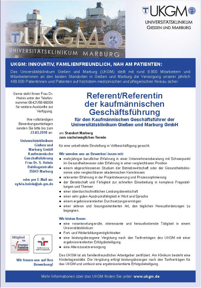 Universitätsklinikum Gießen und Marburg GmbH, Marburg: Referent d. kfm. Geschäftsführung (m/w)