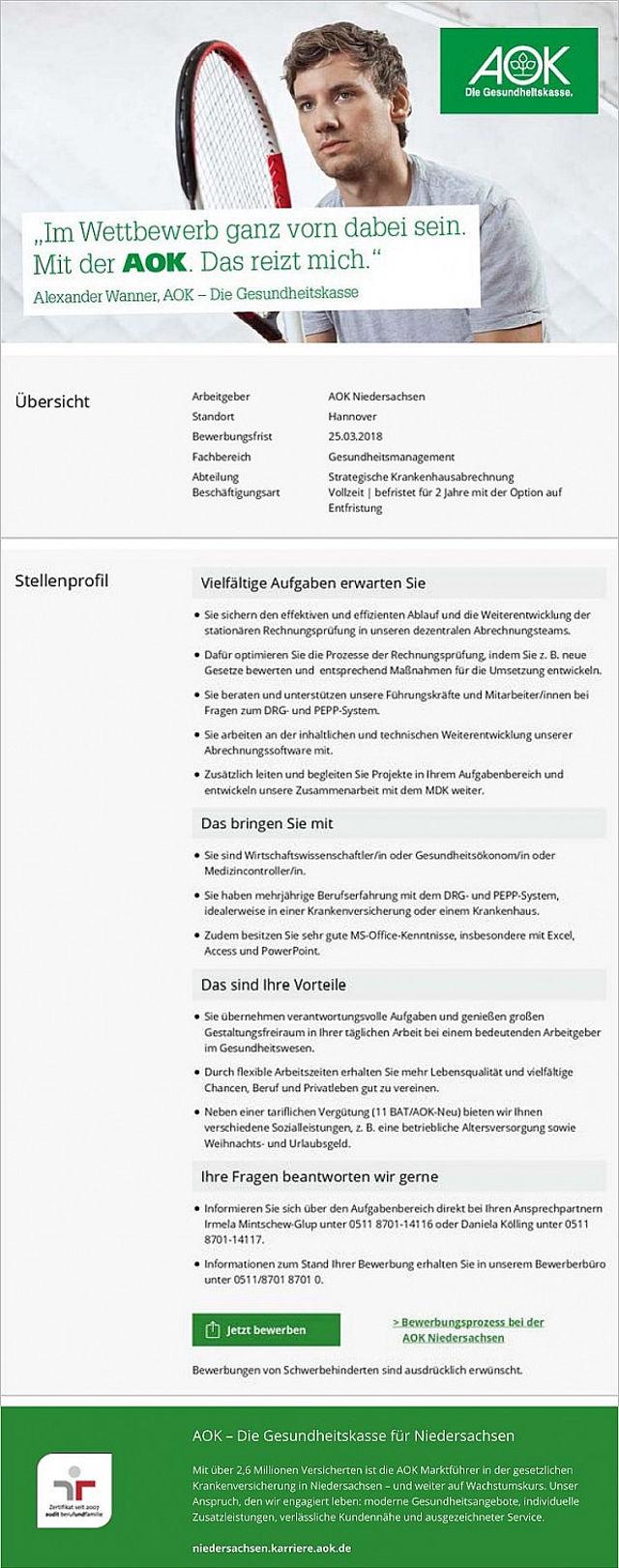 AOK - Die Gesundheitskasse für Niedersachsen, Hannover: Referent Krankenhausabrechnung / Medizincontrolling (m/w)
