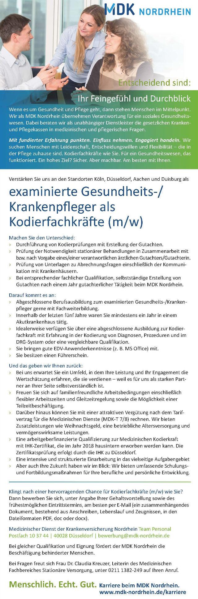 Medizinischer Dienst der Krankenversicherung Nordrhein, Düsseldorf: Examinierte Gesundheits-/Krankenpfleger als Kodierfachkräfte (m/w)