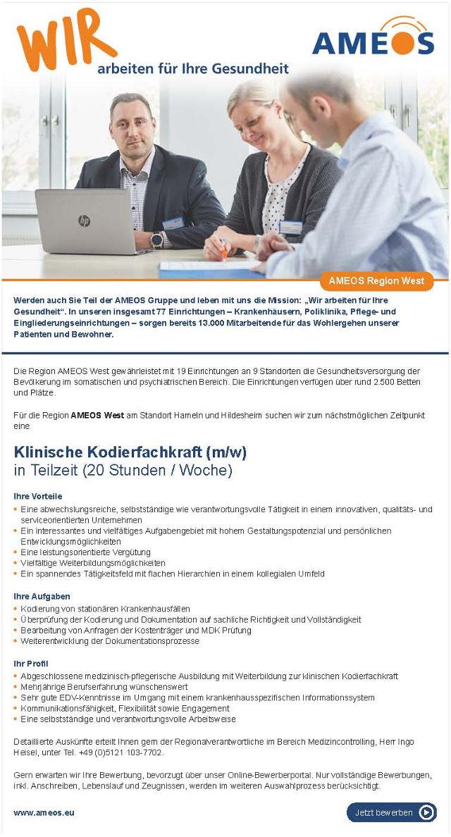 AMEOS Region West, Hameln, Hildesheim: Klinische Kodierfachkraft (m/w)