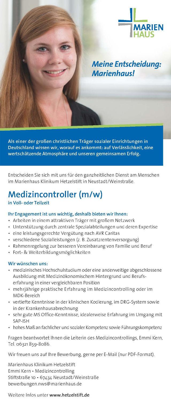 Marienhaus Klinikum Hetzelstift, Neustadt/Weinstraße: Medizincontroller (m/w)