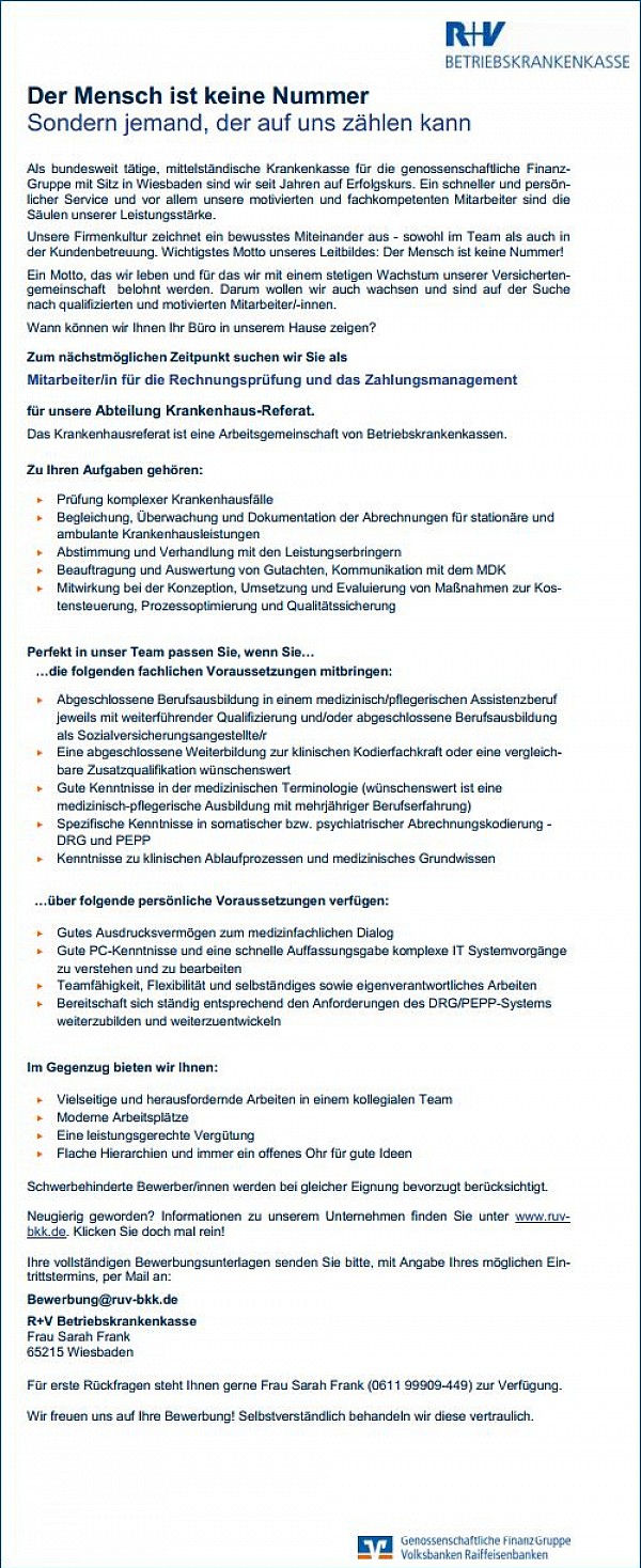R+V Betriebskrankenkasse, Wiesbaden: Mitarbeiter Rechnungsprüfung (m/w)