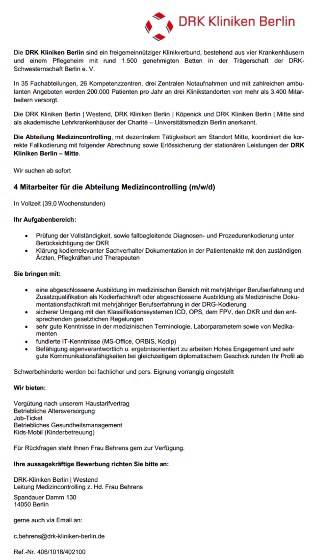 DRK Kliniken Berlin: Mitarbeiter Medizincontrolling (m/w/d)