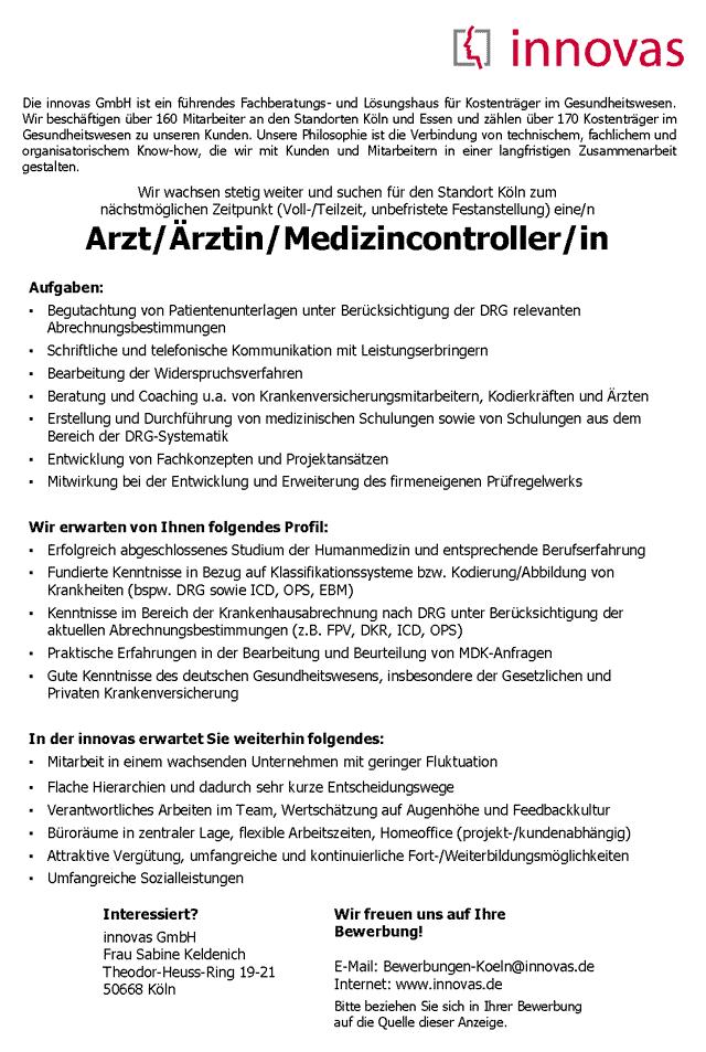 innovas GmbH, Köln: Arzt / Medizincontroller (m/w)