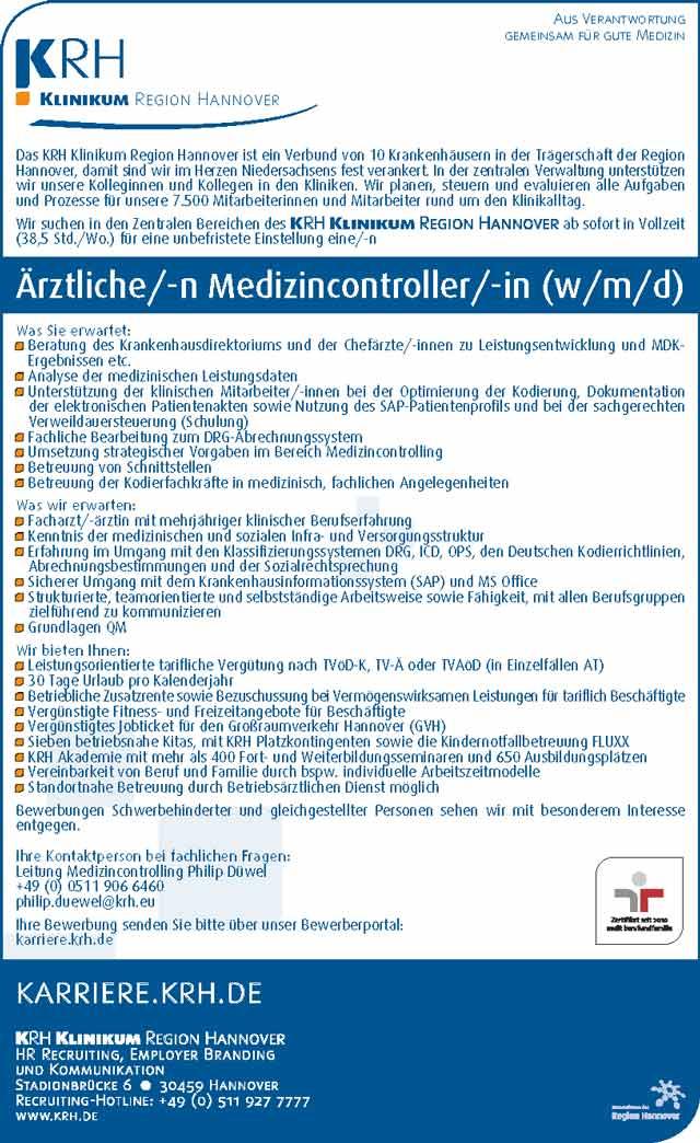 KRH Klinikum Region Hannover: Ärztlicher Medizincontroller (m/w/d)
