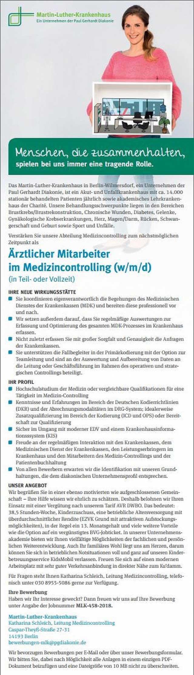 Martin-Luther-Krankenhaus Berlin-Wilmersdorf: Ärztlicher Mitarbeiter im Medizincontrolling (w/m/d)