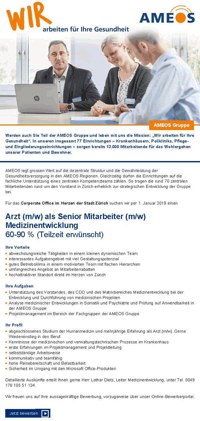 Ameos Zürich: Arzt als Senior Mitarbeiter Medizinentwicklung (m/w)