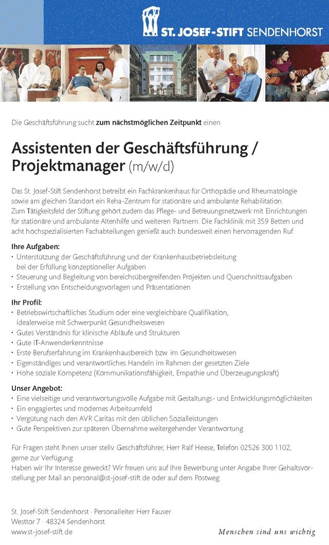 St. Josef-Stift Sendenhorst: Assistent der Geschäftsführung / Projektmanager (m/w/d)
