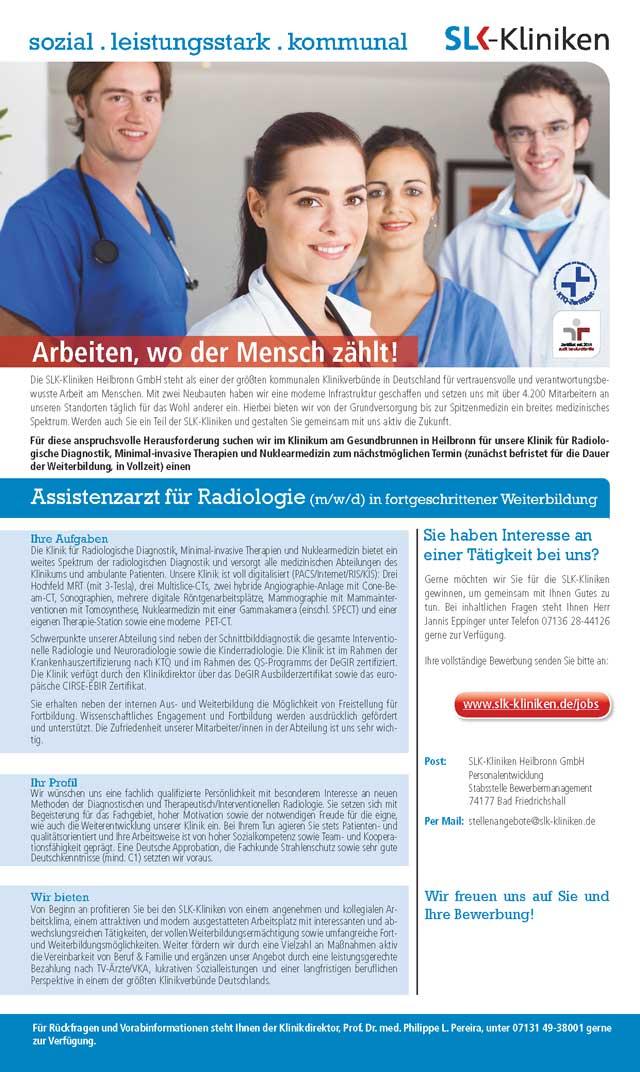 SLK-Kliniken Heilbronn GmbH: Assistenzarzt Radiologie (m/w/d)