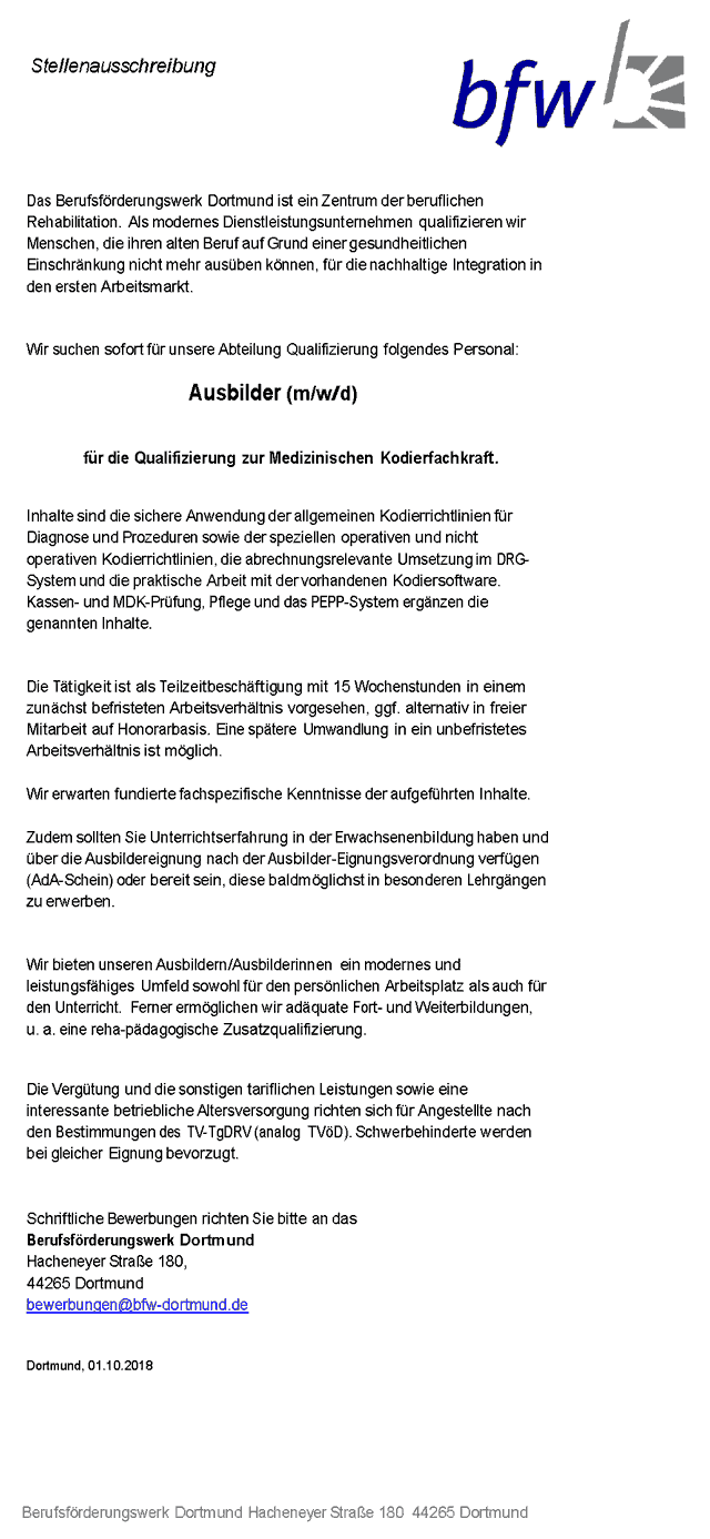 Berufsförderungswerk Dortmund: Ausbilder f.d. Qualifizierung zur Medizinischen Kodierfachkraft (m/w/d)