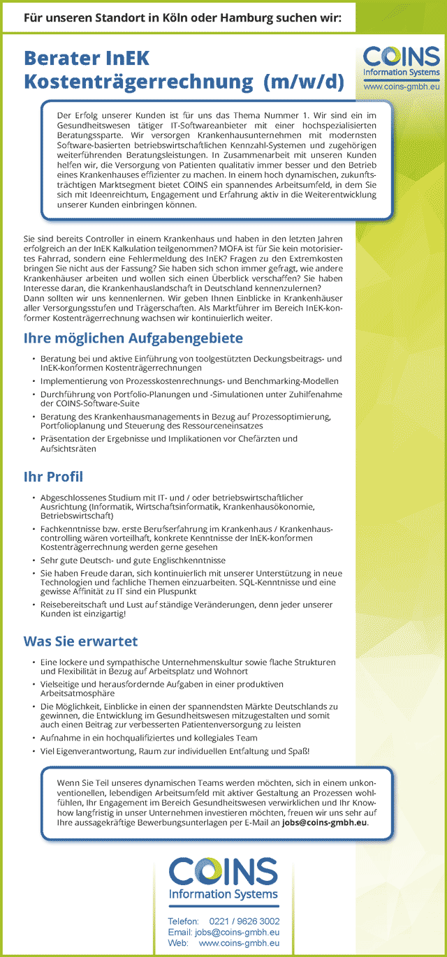 Coins Information Systems: Berater InEK Kostenträgerrechnung (m/w/d)