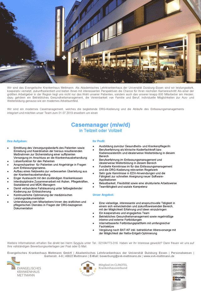Evangelisches Krankenhaus Mettmann GmbH: Casemanager (m/w/d)