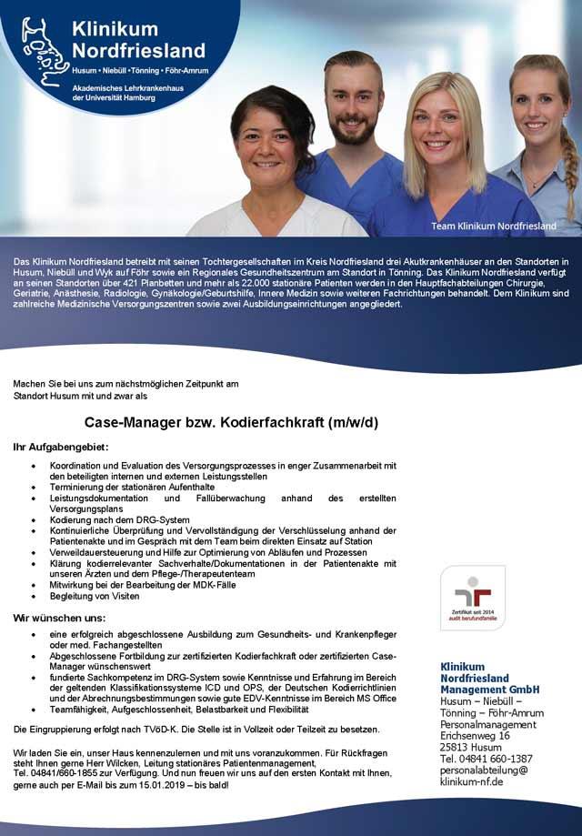 Klinikum Nordfriesland Management GmbH, Husum: Case-Manager / Kodierfachkraft (m/w/d)