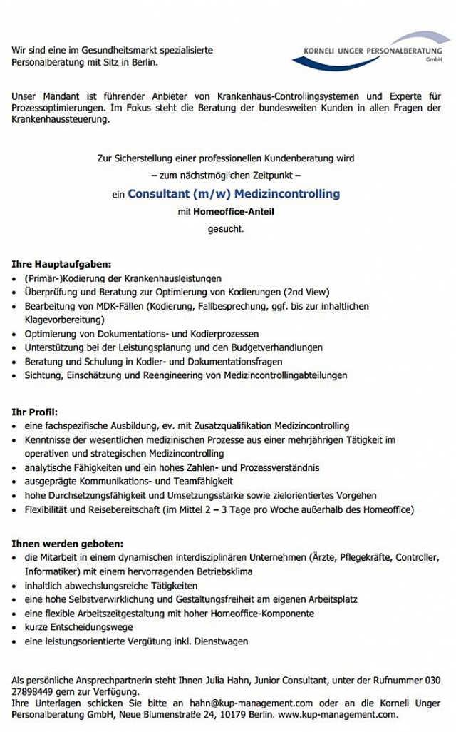 Korneli Unger Personalberatung GmbH Berlin: Consultant Medizincontrolling (m/w)