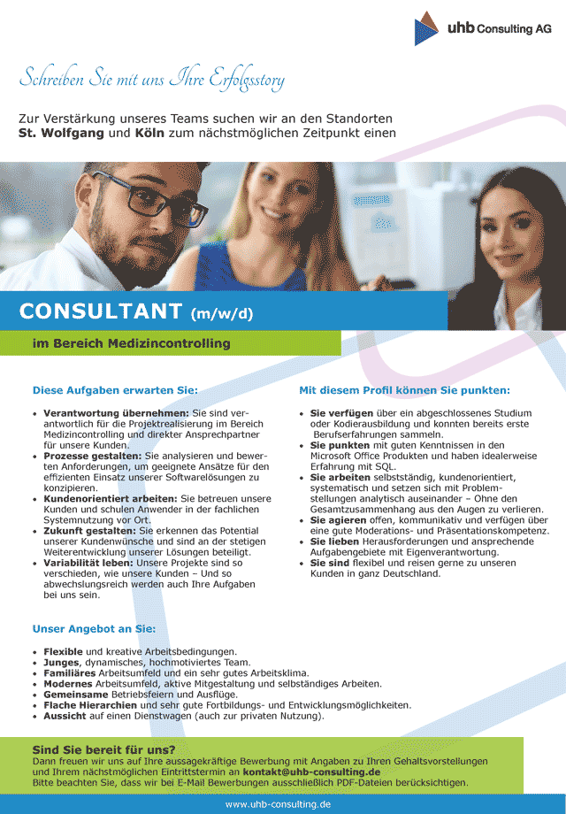 uhb Consulting AG St. Wolfgang: Consultant Medizincontrolling (m/w/d)