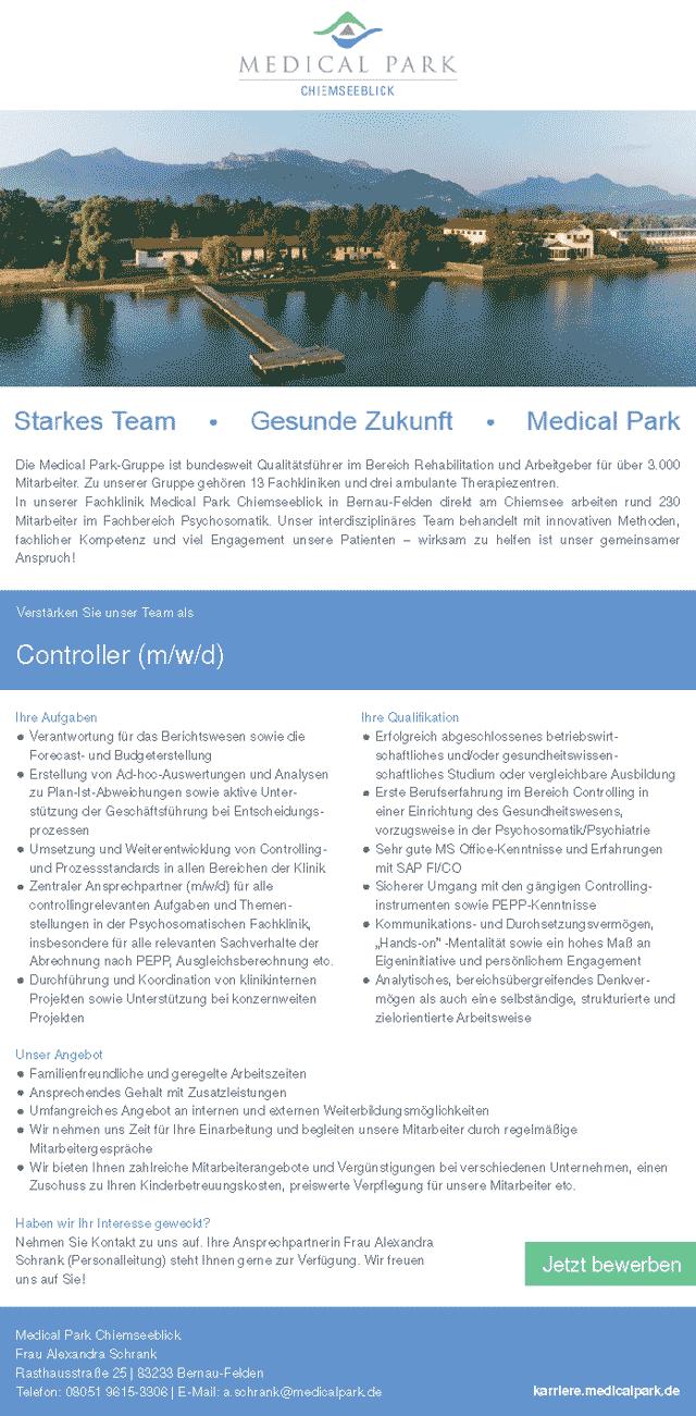 Fachklinik Medical Park Chiemseeblick: Controller (m/w/d)